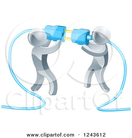Clipart of a Team of 3d Silver Men Connecting Electrical Plugs - Royalty Free Vector Illustration by AtStockIllustration