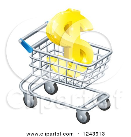 Clipart of a 3d Golden Dollar Symbol in a Shopping Cart - Royalty Free Vector Illustration by AtStockIllustration
