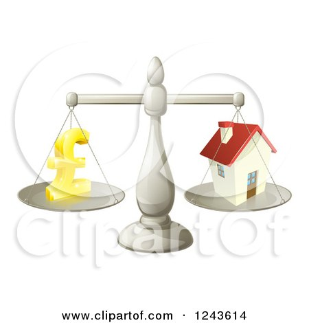Clipart of a 3d Scale Comparing a Pond Currency Symbol and a House - Royalty Free Vector Illustration by AtStockIllustration