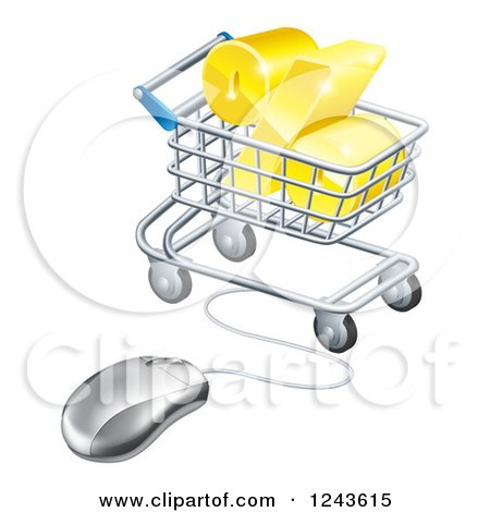 Clipart of a 3d Golden Percent Discount Symbol in a Shopping Cart Wired to a Computer Mouse - Royalty Free Vector Illustration by AtStockIllustration