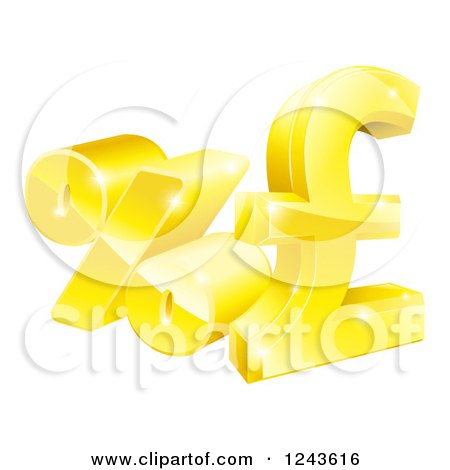 Clipart of 3d Gold Percent and Pound Sterling Currency Symbols - Royalty Free Vector Illustration by AtStockIllustration