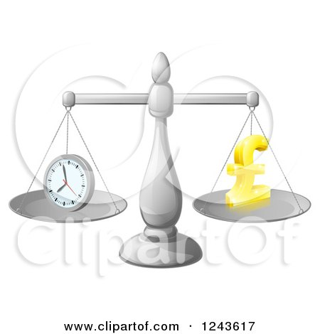 Clipart of a 3d Scale with Balanced Time and Money Pound Symbol - Royalty Free Vector Illustration by AtStockIllustration