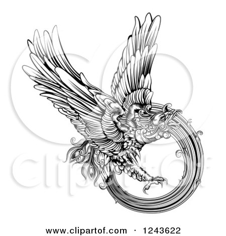Clipart of a Black and White Engraved Majestic Phoenix Bird Flying - Royalty Free Vector Illustration by AtStockIllustration