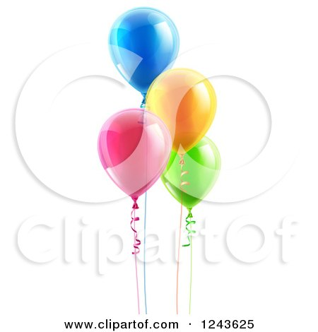 Clipart of 3d Colorful Floating Party Balloons with Ribbons - Royalty Free Vector Illustration by AtStockIllustration