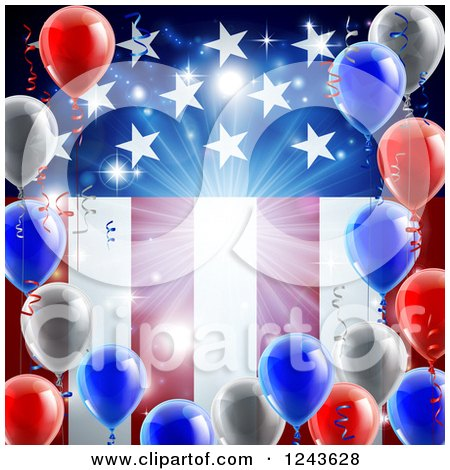 Clipart of a Bright Burst and 3d Party Balloons over an American Flag - Royalty Free Vector Illustration by AtStockIllustration