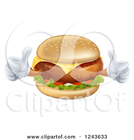 Clipart of a Happy Cheeseburger Character Holding Two Thumbs up - Royalty Free Vector Illustration by AtStockIllustration