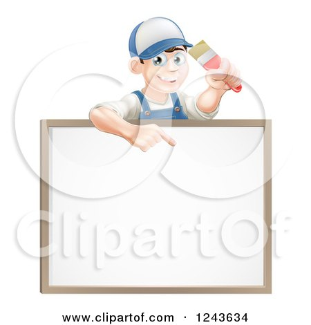 Clipart of a Happy Brunette Male House Painter Holding a Brush and Pointing down to a White Board Sign - Royalty Free Vector Illustration by AtStockIllustration