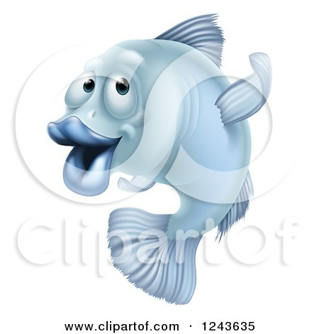 Clipart of a Blue Fish Gesturing Which Way to Go - Royalty Free Vector Illustration by AtStockIllustration