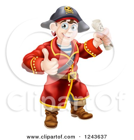 Clipart of a Happy Male Pirate Captain Holding a Thumb up and Treasure Map - Royalty Free Vector Illustration by AtStockIllustration