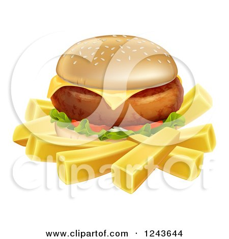 Clipart of a 3d Cheeseburger and French Fries - Royalty Free Vector Illustration by AtStockIllustration