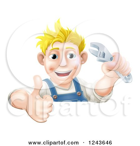 Clipart of a Happy Blond Mechanic Man Holding a Spanner Wrench and Thumb up over a Sign - Royalty Free Vector Illustration by AtStockIllustration