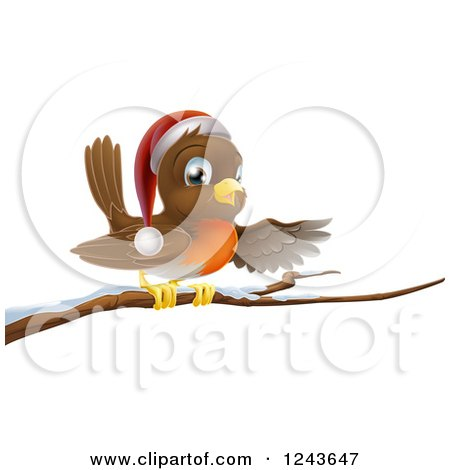 Clipart of a Christmas Robin Presenting on a Snow Covered Branch - Royalty Free Vector Illustration by AtStockIllustration