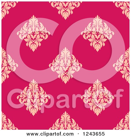 Clipart of a Seamless Background Pattern of Pink and Tan Damask Floral - Royalty Free Vector Illustration by Vector Tradition SM