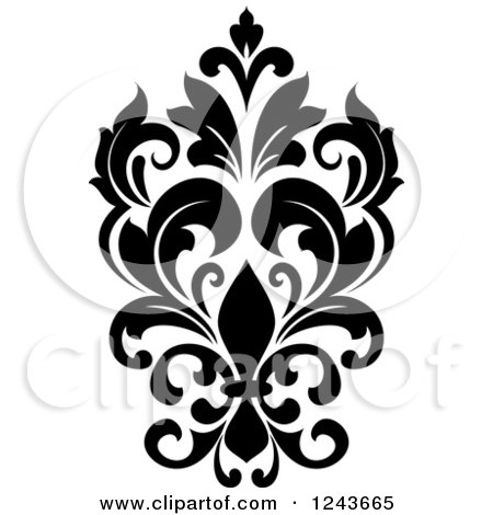 Clipart of a Black and White Arabesque Damask Design 24 - Royalty Free Vector Illustration by Vector Tradition SM
