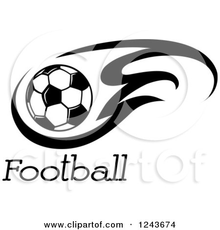 Clipart of a Black and White Flaming Soccer Ball and Football Text  Royalty Free Vector