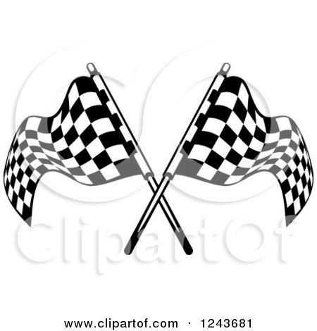 Clipart of Crossed Black and White Checkered Racing Flags - Royalty Free Vector Illustration by Vector Tradition SM