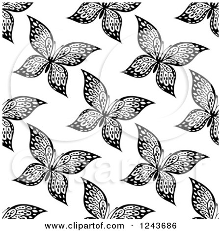 Clipart of a Seamless Black and White Butterfly Background Pattern 5 - Royalty Free Vector Illustration by Vector Tradition SM