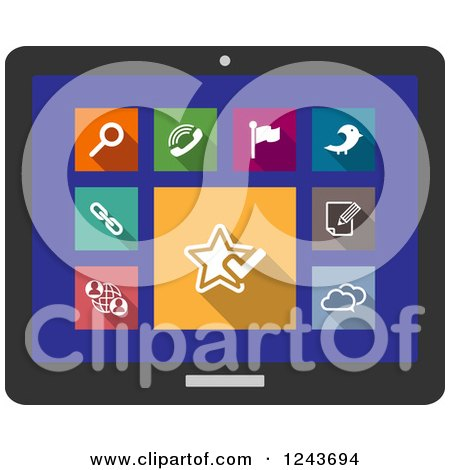 Clipart of Colorful Multimedia Icons on a Tablet Screen - Royalty Free Vector Illustration by Vector Tradition SM
