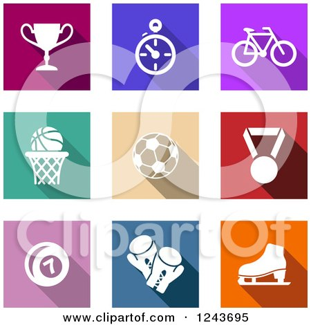 Clipart of Colorful Sport Icons - Royalty Free Vector Illustration by Vector Tradition SM