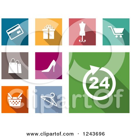 Clipart of Colorful Online Shopping Icons - Royalty Free Vector Illustration by Vector Tradition SM