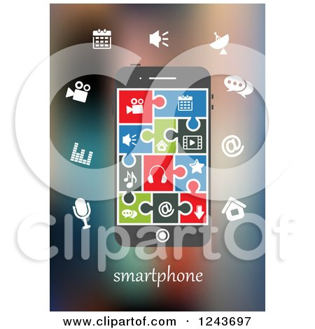 Clipart of a Smartphone with Colorful Infographic Designs and Jigsaw Puzzle Piece App Icons - Royalty Free Vector Illustration by Vector Tradition SM