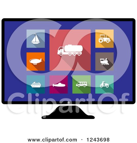 Clipart of Colorful Travel and Modes of Transport Icons on a Computer Screen - Royalty Free Vector Illustration by Vector Tradition SM