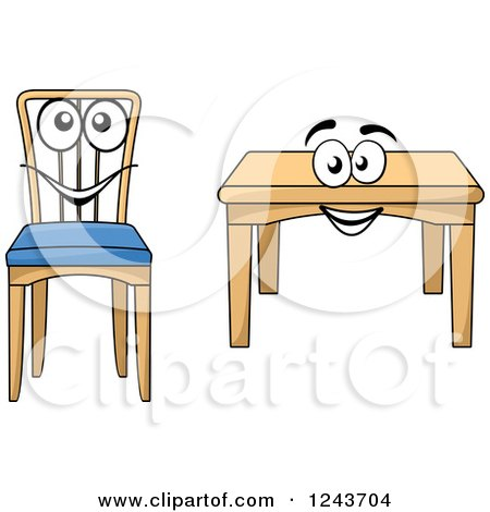 Clipart of a happy cartoon table and chair royalty free for Chaise 3d dessin
