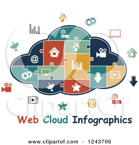 Clipart of a Puzzle Piece Web Cloud Infographics Diagram with Icons - Royalty Free Vector Illustration by Vector Tradition SM