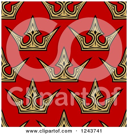 Clipart of a Seamless Background Pattern of Gold Crowns on Red - Royalty Free Vector Illustration by Vector Tradition SM