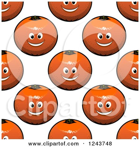 Clipart of a Seamless Background Pattern of Happy Oranges 3 - Royalty Free Vector Illustration by Vector Tradition SM