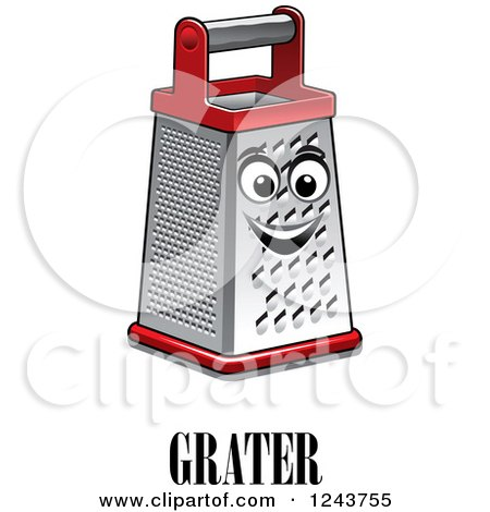 Clipart of a Happy Grater with Text - Royalty Free Vector Illustration by Vector Tradition SM