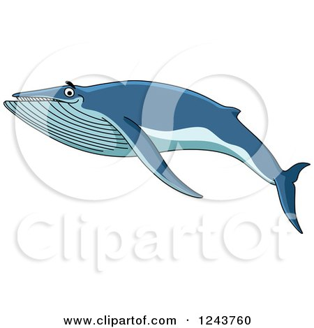 Clipart of a Happy Blue Baleen Whale Swimming - Royalty Free Vector Illustration by Vector Tradition SM