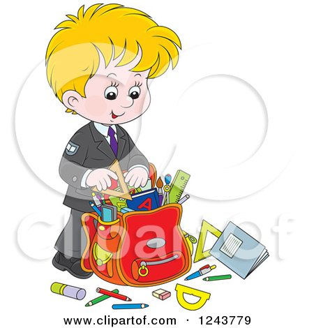 Clipart of a Blond School Boy Packing Supplies in a Bag - Royalty Free Vector Illustration by Alex Bannykh