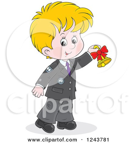 Clipart of a Blond School Boy Ringing a Bell - Royalty Free Vector Illustration by Alex Bannykh