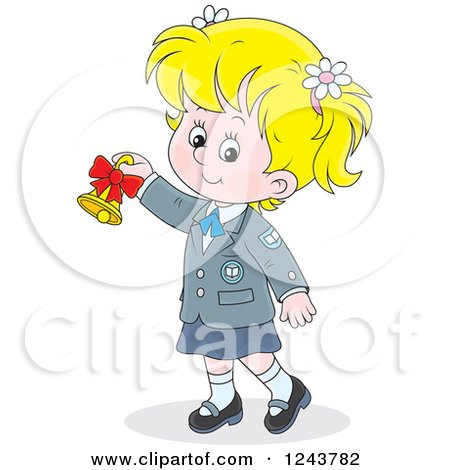 Clipart of a Blond School Girl Ringing a Bell - Royalty Free Vector Illustration by Alex Bannykh