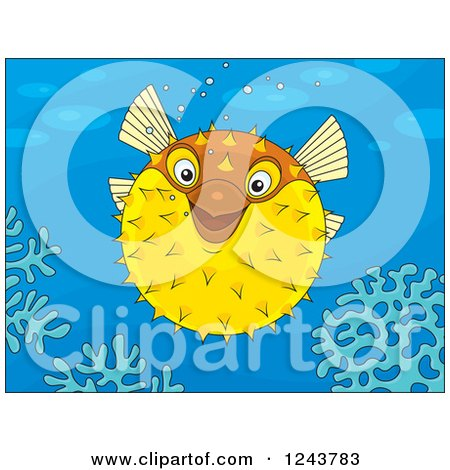 Clipart of a Happy Puffer Fish over Corals - Royalty Free Vector Illustration by Alex Bannykh