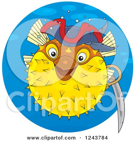 Clipart of a Pirate Puffer Fish in a Blue Circle - Royalty Free Vector Illustration by Alex Bannykh