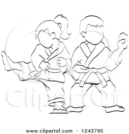 Clipart of a Black and White Sketched Boy and Girl Doing Karate Moves - Royalty Free Vector Illustration by David Rey