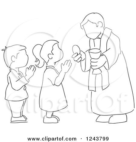 Clipart Of A Sketchd Kids First Communion Royalty Free