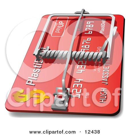 Le jeu du nombre en image... (QUE DES CHIFFRES) - Page 37 12438-Red-Credit-Card-Debt-Trap-Clipart-Illustration