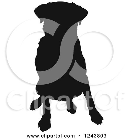 Clipart of a Black Silhouetted Labrador Retriever Dog Sitting - Royalty Free Vector Illustration by Maria Bell