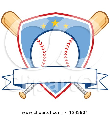 Clipart of Crossed Bats and a Blue and Red Baseball Shield ...