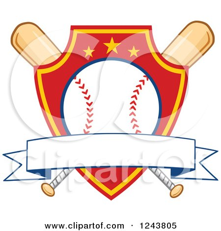 Clipart of Crossed Bats and a Red and Yellow Baseball Shield with a Banner - Royalty Free Vector Illustration by Hit Toon