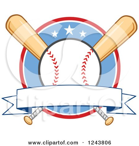 Clipart of Crossed Bats and a Baseball over a Circle with a Banner - Royalty Free Vector Illustration by Hit Toon