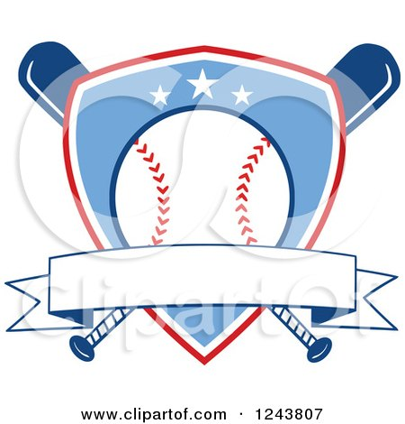 Clipart of Crossed Bats and a Blue Baseball Shield with a Banner - Royalty Free Vector Illustration by Hit Toon