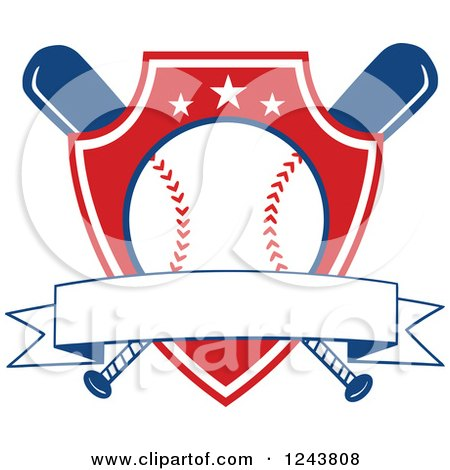 Clipart of Crossed Bats and a Red Baseball Shield with a Banner - Royalty Free Vector Illustration by Hit Toon