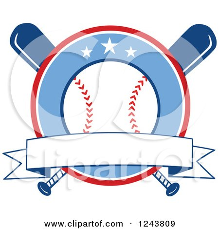 Clipart of Crossed Bats and a Baseball Circle with a Banner - Royalty Free Vector Illustration by Hit Toon