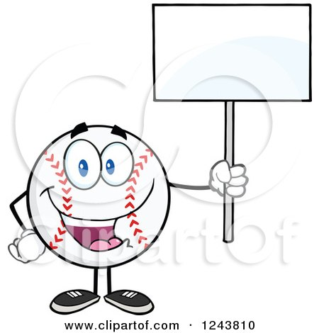 Clipart of a Cartoon Baseball Character Holding a Blank Sign - Royalty Free Vector Illustration by Hit Toon