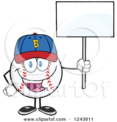 Clipart of a Cartoon Baseball Character Wearing a Cap and Holding a Blank Sign - Royalty Free Vector Illustration by Hit Toon