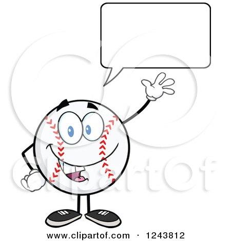 Clipart of a Talking Cartoon Baseball Character Waving - Royalty Free Vector Illustration by Hit Toon